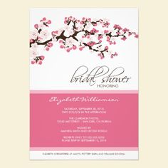 Cherry Blossom Bridal Shower Invitation (rose). Personalize for your own event in just a few clicks. Available in lots of color options. #wedding #bridalshower #diy #invitations