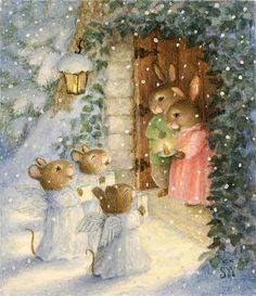 Art Little Mice Carolers ~ Susan Wheeler, Holly Pond Hill christmas