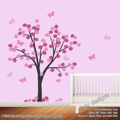 Cherry Blossom Vinyl Wall Art Tree Decal  Flower by CadyDesignz, $85.00