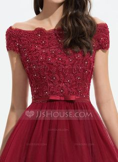 A-Line Off-the-Shoulder Asymmetrical Tulle Evening Dress With Beading Sequins Bow(s) - Evening Dresses - JJ's House Long Gown Dress, The Dress, Pretty Dresses, Beautiful Dresses, Gown Party Wear, Fancy Dress Design, Tulle Bridesmaid Dress, Dress Neck Designs, Homecoming Dresses