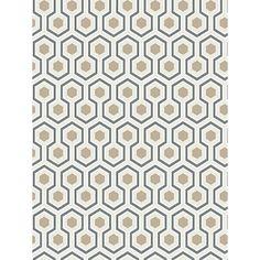 Cole & Son Hicks Hexagon Wallpaper, Gilver White/Blue, 95/3016