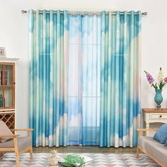 The blue watercolor curtain can create a dreamy environment for the whole pattern looks like blue sky. Door Curtains, Colorful Curtains, Beautiful Bathrooms, My Room, Environment, Indoor, Sky, Watercolor, Create
