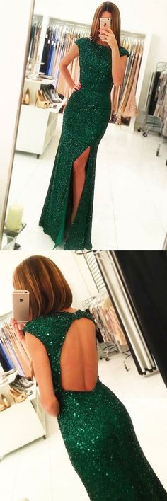 dark green formal party dresses with open back cap sleeves, sparkle prom evening dresses split.