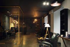 Barboss Barbershop and tattoo salon by Workshop Dmitriy Grynevich, Kiev – Ukraine Tatto Shop, Tattoo Studio Interior, Tattoo Salon, Barber Shop Decor, Kiev Ukraine, Tattoo Parlors, Salon Design, Salons, Workshop