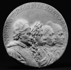 Ivory medal of the Holy League with Pope Innocent XI, Emperor Leopold I, John III Sobieski and Marcantonio Giustinian, Doge of Venice by Johann Ignaz Bendl, 1683, The Metropolitan Museum of Art