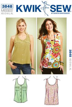 Kwik Sew sewing pattern K3848 Tank Tops, 2 Styles, Sleveless and Racerback, Misses, Womens, Teen Girls - new and uncut
