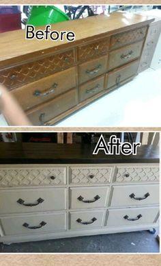 Dresser remodel using homemade chalk paint
