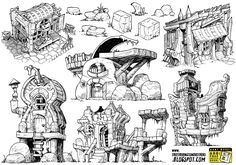6 monster house concepts by STUDIOBLINKTWICE on deviantART