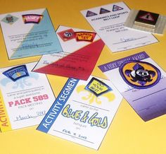 Award cards for activity segments and belt loops.