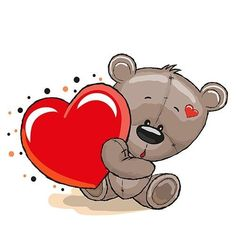 Cute Teddy Bear with heart on a white background Tatty Teddy, Cute Images, Cute Pictures, Cartoon Mignon, Cute Teddy Bears, Cute Love, Cute Cartoon, Art For Kids, Coloring Pages