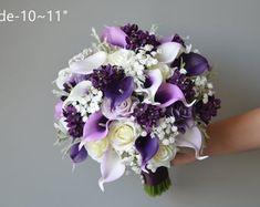 Calla Lilies Wedding Package-Picasso Purple Calla Lilies Silk   Etsy Purple Bridesmaid Bouquets, Lilac Bouquet, Silk Bridal Bouquet, Calla Lily Bouquet, Rose Wedding Bouquet, Bridal Bouquets, Lilac Wedding, Bridesmaids, Calla Lily Wedding Flowers