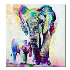 Abstract Elephant Canvas Print Oil Painting Unframe Picture Home Wall Art Mural