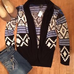 Aztec Cardigan NWT Super cute Aztec Cardigan! Black, gray, light blue and cream. Light weight sweater material. 100% acrylic. SO pretty!! Jeans also available, size 5/6. Both are new listings!! Sweaters Cardigans