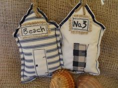 Items similar to Pair of Shabby Primitive Hanging Beach Huts on Etsy Fabric Yarn, Fabric Crafts, Sewing Crafts, Sewing Projects, Beach Crafts, Summer Crafts, Nautical Art, Fabric Houses, Pin Cushions