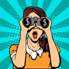 Financial monitoring of currency dollar businessman binoculars pop art retro style. Sexy surprised woman with open mouth. Colorful vector background in pop art retro comic style. Retro Kunst, Retro Art, Desenho Pop Art, Comics Vintage, Pop Art Wallpaper, Pin Up, Comic Styles, Color Street, Vector Background