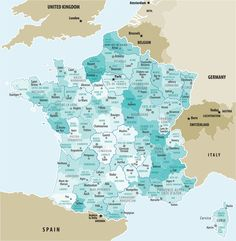 A map showing the 22 administrative regions of France and the departments found within each one. #Francemaps #Maps #France #Geography