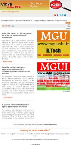 """#EducationNews #VidyaExpress - """"Govt launched technical education schemes for differently abled children and women"""" For more information visit online: http://www.vidyaexpress.com/newsletter.php"""