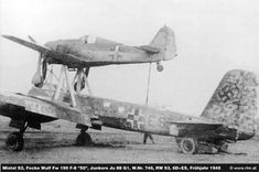 A Mistel comprising Junkers Ju (WNr and Focke-Wulf Fw uniidentified unit, Spring B 17, P51 Mustang, Pearl Harbor, Luftwaffe, Focke Wulf 190, Ww2 Pictures, Ww2 Planes, Military Photos, Ww2 Aircraft