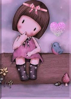 Cute and whimsical art A little girl and birds. Cute Images, Cute Pictures, Santoro London, Whimsical Art, Cute Illustration, Cute Drawings, Cute Cartoon, Cute Art, Decoupage