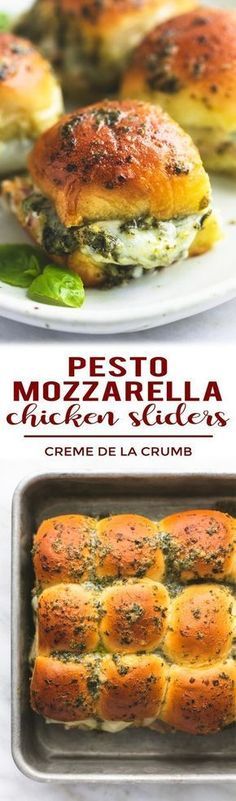 You Have Meals Poisoning More Normally Than You're Thinking That Easy Cheesy Five Ingredient Hot And Melty Pesto Mozzarella Chicken Sliders Make The Ultimate Appetizer For Parties And Holidays Appetizers For Party, Appetizer Recipes, Dinner Recipes, Appetizer Sandwiches, Slider Sandwiches, Steak Sandwiches, Paninis, Sandwich Croque Monsieur, Pesto Mozzarella Chicken