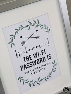 Wifi password on display.