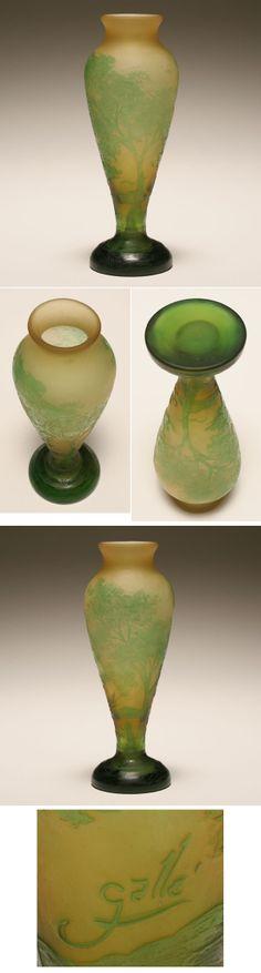 Gallé- French cameo art glass landscape vase; | Antique Helper - Art Nouveau -