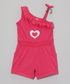 Look what I found on #zulily! Fuchsia Heart Asymmetrical Romper - Infant, Toddler & Girls by Diva #zulilyfinds