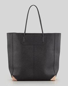 Alexander Wang // Prisma Leather Tote Bag, Black/Rose Gold