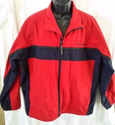 POLO RALPH LAUREN SPORT WINDBREAKER JACKET SIZE LARGE SAILING Red Navy Blue #PoloRalphLauren #Windbreaker
