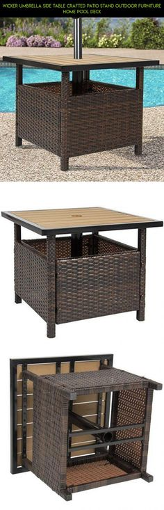 Wicker Umbrella Side Table Crafted Patio Stand Outdoor Furniture Home Pool Deck #fpv #gadgets #kit #umbrella #furniture #shopping #products #drone #camera #racing #patio #plans #parts #technology #tech