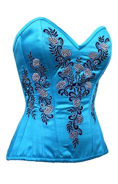 Lady Nouveau Frost Lilly-Blue Corset - The Violet Vixen