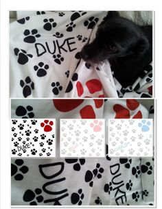 PERSONALIZED Paw Prints Pet Doggie Blanket - 32x50 Minky or Organic Cotton | DrapeStudio fabric, drapes, valance, pillows, bedding, baby, gift