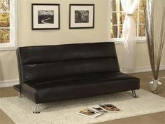 AF Furniture Futon Sofa Bed Black    This stylish contemporary click clack sleeper will help you make the most of your space with convenient multi-function and a sophisticated look. Las Vegas Furniture Online | LasVegasFurnitureOnline | Lasvegasfurnitureonline.com