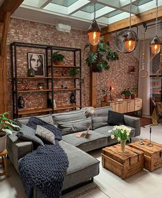 This industrial livingroom is just so gorgeous! Living Room Interior, Home Living Room, Home Interior Design, Living Room Designs, Living Room Decor, Living Spaces, Interior Colors, Interior Livingroom, Bedroom Decor