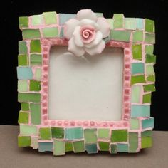 Mosaic Frame Artisan Made Pinks and Greens Opening for Small Photo | eBay
