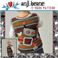 A cute robot vest for the kids.  Pattern for purchase here: http://www.littlenuggetcrochet.blogspot.com/