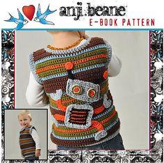 A cute robot vest for the kids.  Pattern for purchase here: http://www.littlenuggetcrochet.blogspot.com/