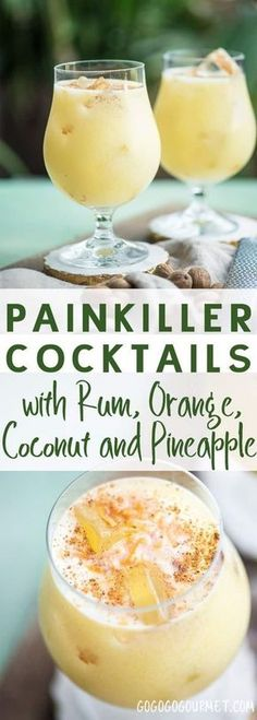 If you're looking for a great warm weather cocktail, make these Painkiller Drinks! Coconut, pineapple, rum, and orange- what's not to love? via and Drink poster cocktail recipes The Painkiller Drink Go Go Go Gourmet Liquor Drinks, Cocktail Drinks, Cocktail Recipes, Beverages, Vodka Cocktails, Vodka Martini, Martinis, Cheap Cocktails, Margarita Recipes