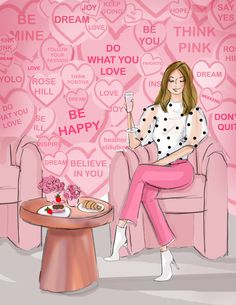 Hello Weekend, Happy Weekend, Converse With Heart, Pink Wall Art, Pink Walls, Whimsical Art, Fashion Sketches, Cute Designs, Beautiful Pictures