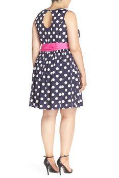 Eliza J Polka Dot Fit & Flare Dress (Plus Size)