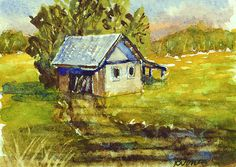 """ACEO Miniature Original Watercolor Painting, """"Secluded Barn"""""""