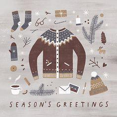 illustration by nastia sleptsova Free Illustration, Winter Illustration, Christmas Illustration, Christmas Design, Christmas Art, Winter Christmas, Xmas, Winter Pictures, Winter Art