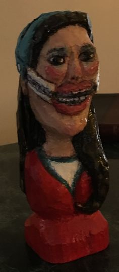 """""""Teen With Braces"""" (Woodcarving - Character Bust) - 2"""" W X 6"""" H X 2"""" D - Mixed-Media on carved Basswood- This was a project that started off from the Wood Whittlers' Contest back in February 2016."""