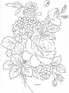 Pintura em Tecido Passo a Passo Com Fotos: Riscos Desenhos de flores para colorir e pintar em...