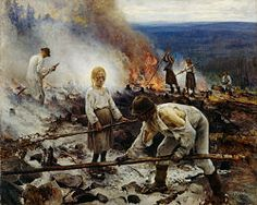 "The painting ""Under the Yoke payment"" by Eero Järnefelt shows Savo Finns shifting cultivation."