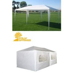 Palm Springs 10 X 20 White Party Tent Gazebo Canopy with Sidewalls Holds up to 30 people.