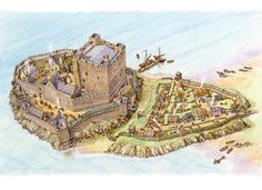 Carrick Castle Phase 2 in Carrickfergus, Co Antrim some time around 1205 by Philip Armstrong