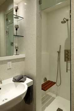 two folding seats. Contemporary Bathroom : Steam Shower, Bench ...
