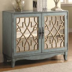Coaster Accent Cabinet With Lattice Overlay In Silver