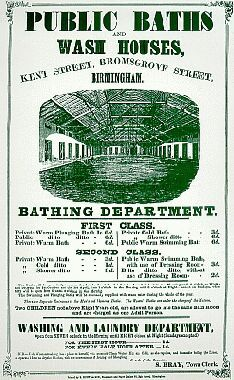 Poster for Kent Street Baths circa 1855. They were the first public baths in Birmingham.